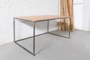 N51E12 Design Schreibtisch mit Schubladen, Massivholz Eiche, Stahlrahmen, Stauraum, Loft, Bürotisch,160x90