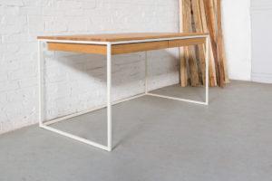N51E12 Design Schreibtisch mit Schubladen, Massivholz Eiche, Stahlrahmen, Stauraum, Loft, Bürotisch,160x80