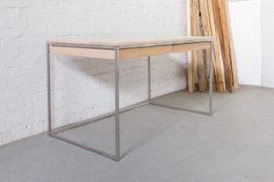 N51E12 Design Schreibtisch mit Schubladen, Massivholz Esche, Stahlrahmen, Stauraum, Loft, Bürotisch,140x70, Edelstahl, Edelstahltisch