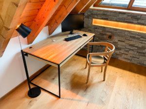 N51E12 Design Schreibtisch mit Schubladen, Massivholz Eiche, Stahlrahmen, Stauraum, Loft, Bürotisch,160x80, Kabelkanal