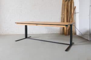 N51E12 Smart elektrisch höhenverstellbarer Schreibtisch aus Massivholz Eiche und Stahl, Stahlrahmen, Stahlgestell, Metall, Metallrahmen, Office, Schreibtisch, Bürotisch, Lofttisch, Loft, 220x100