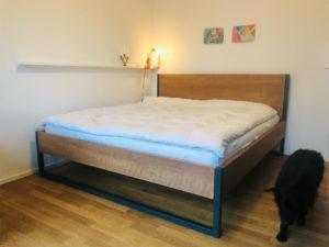 N51E12 Cashback Loft Vintage Bett aus Massivholz Buche, Massivholzbett mit Stahlrahmen, Doppelbett, Designbett, 180x200, Loftbett, Loft, Stahl