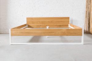 N51E12 200x200 Nature Oak Bett aus Massivholz Eiche, Massivholzbett, Loftbe tt, Doppelbett, Stahlrahmen, Stahlbett, Metallbett, Metallrahmen, Bettrahmen, Loftbett, Loft