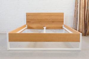 N51E12 160x200 Nature Oak Bett aus Massivholz Eiche, Massivholzbett, Loftbe tt, Doppelbett, Stahlrahmen, Stahlbett, Metallbett, Metallrahmen, Bettrahmen, Loftbett, Loft