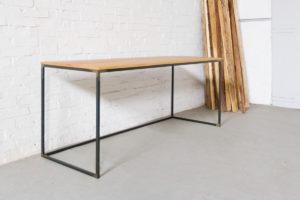 N51E12 Design Schreibtisch, Massivholz Eiche, Stahlrahmen, Stauraum, Loft, Bürotisch,180x75
