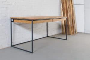 N51E12 Design Schreibtisch mit Schubladen, Massivholz Eiche, Stahlrahmen, Stauraum, Loft, Bürotisch,160x80, Echtholz,