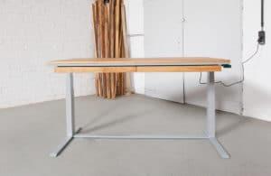 N51E12 Smart elektrisch höhenverstellbarer Schreibtisch aus Massivholz Eiche und Stahl, Stahlrahmen, Stahlgestell, Metall, Metallrahmen, Office, Schreibtisch, Bürotisch, Lofttisch, Loft, 160x80, RAL 9016 Verkehrsweiss