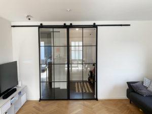 Loftstahl, Loft-Stahl, N51E12 Stahl Loft Tür, Schiebetür aus Stahl und Glas, Doppeltür, Doppelschiebetür, Lofttür, Loft Glas Element, Raumtrenner, Windfang, Glastrennwand