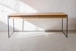 N51E12 Design Schreibtisch mit Schubladen, Massivholz Eiche, Stahlrahmen, Stauraum, Loft, Bürotisch,200x75