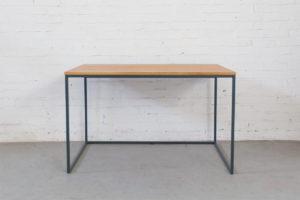 N51E12 Design Schreibtisch mit Schubladen, Massivholz Eiche, Stahlrahmen, Stauraum, Loft, Bürotisch,120x80