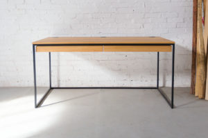 N51E12 Design Schreibtisch mit Schubladen, Massivholz Eiche, Stahlrahmen, Stauraum, Loft, Bürotisch,160x75