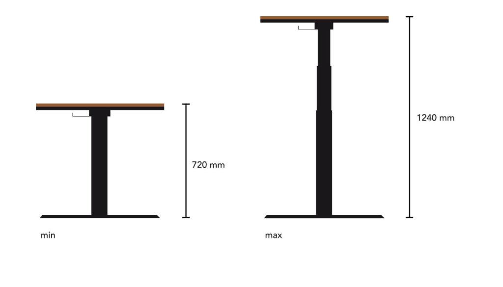 N51E12 elektrisch höhenverstellbarer Schreibtisch aus Massivholz Eiche und Stahl