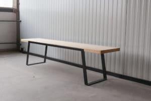 N51E12 Design Esszimmer Bank, Sitzbank, Loftbank, Küche, Massivholz, Stahl, Stahlgestell, Metall, Metallgestell, Esche
