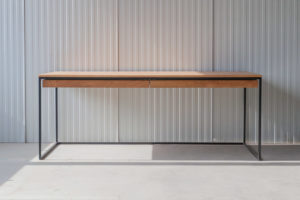 N51E12 Design Schreibtisch mit Schubladen, Massivholz Eiche, Stahlrahmen, Stauraum, Loft, Bürotisch,200x80, Schubladen