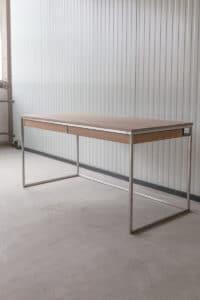 N51E12 Design Schreibtisch mit Schubladen, Massivholz Eiche, Stahlrahmen, Stauraum, Loft, Bürotisch,160x75, Schubladen, Edelstahl, Edelstahlschreitisch, Edelstahltisch