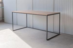 N51E12 Design Schreibtisch mit Schubladen, Massivholz Eiche, Stahlrahmen, Stauraum, Loft, Bürotisch,160x80, Schubladen