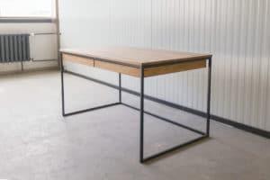 N51E12 Design Schreibtisch mit Schubladen, Massivholz Eiche, Stahlrahmen, Stauraum, Loft, Bürotisch,140x80, Schubladen