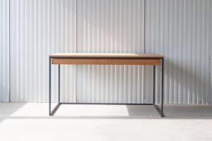 N51E12 Design Schreibtisch mit Schubladen, Massivholz Eiche, Stahlrahmen, Stauraum, Loft, Bürotisch,140x75, Schubladen