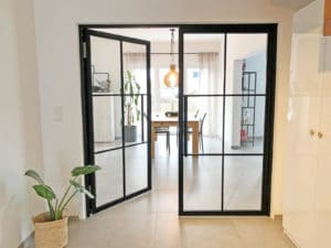Loftstahl - N51E12 Stahl Loft Tür, Designtür, Drehtür, doppeltür, Glastür, Glastrennwand, Loftdoor, Industrial Door, Designdoor, Steeldoor, Stahltür, Windfang
