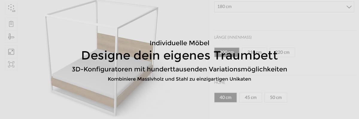 3D Konfigurator Massivholz und Stahl Betten und Schreibtische