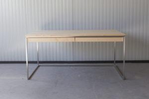 N51E12 Design Schreibtisch mit Schubladen, Massivholz Ahorn, Stahlrahmen, Stauraum, Loft, Bürotisch,160x80, Schubladen, Edelstahl, Edelstahlschreitisch, Edelstahltisch
