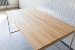N51E12 Design Schreibtisch mit Schubladen, Massivholz Eiche, Stahlrahmen, Stauraum, Loft, Bürotisch,160x90, Schubladen, Edelstahl, Edelstahlschreitisch, Edelstahltisch