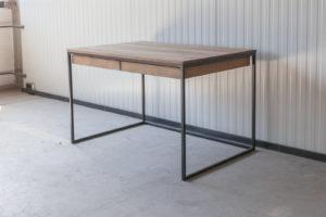 N51E12 Design Schreibtisch mit Schubladen, Massivholz Eiche, Stahlrahmen, Stauraum, Loft, Bürotisch,120x80, Schubladen, RAL 9005 Tiefschwarz