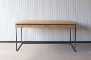 N51E12 Design Schreibtisch mit Schubladen, Massivholz Eiche, Stahlrahmen, Stauraum, Loft, Bürotisch,160x75, Schubladen, RAL 7016 Anthrazit