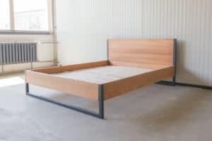 N51E12 Loft Vintage Bett 160x200, Stahlrahmen, Stahlbett, minimalistisches Bett, Designbett, Massivholz Buche, Loftbett, Bettrahmen, Stahlrahmen