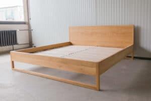 N51E12 Pure Oak Bett, Massivholzbett aus Massivholz Eiche, Doppelbett, 200x200, Bettrahmen, Holzbett, Holzgestell, Bettrahmen, Designbett, Doppelbett