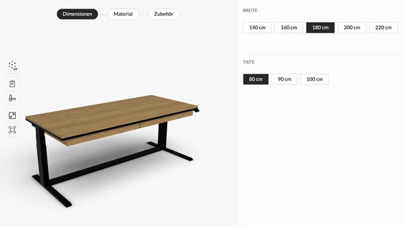 N51E12 Design Schreibtisch elektrisch höhenverstellbar, elektrisch höhenverstellbarer Schreibtisch aus Massivholz und Stahl, Metallrahmen, Eiche, Esche, Buche, Tisch für Büro und Homeoffice, 3D Konfigurator, individuell konfigurierbar